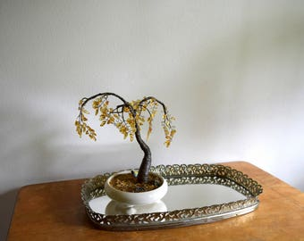 Small Vintage Gold Filigree Mirror Vanity / Perfume Tray - perfect to hold crystals, tiny trees & baubles.