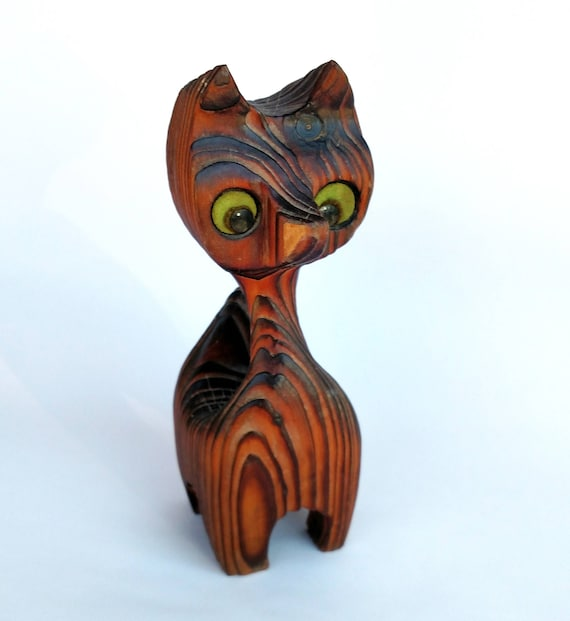 Vintage 1960's Retro Kitsch Wooden Cat Figurine
