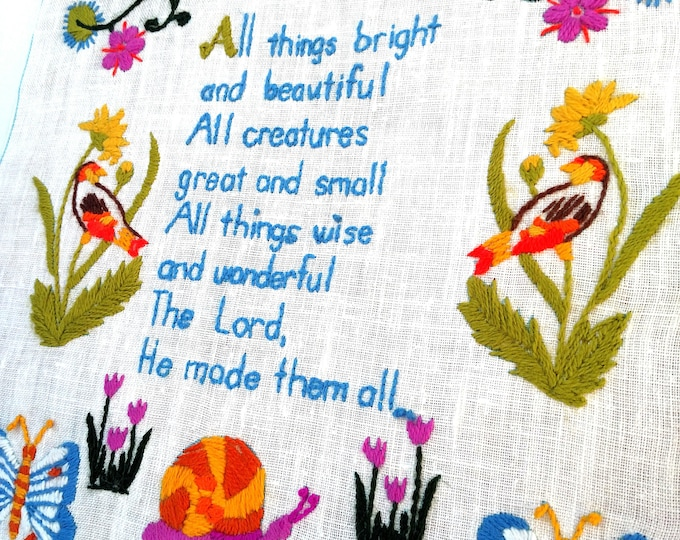 Vintage All Things Bright and Beautiful Framed Crewel Embroidery