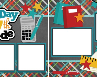 First Day of 7th Grade - Digital Scrapbooking  Quick Pages - INSTANT DOWNLOAD