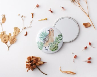 Pocket Mirror, Compact Mirror, Gift for Her, Valentines Day Gift, Bridesmaid Gift, 76mm Mirror, Stocking Filler, Rustic Mirror, Purse Mirror