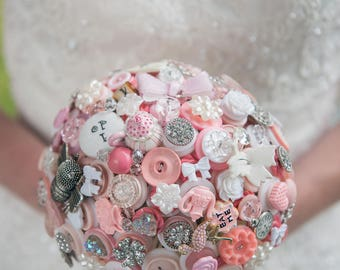 Alice in Wonderland Wedding Button Bouquet - Alternative to Flowers