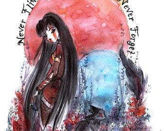 Print Nevernight Mia & Mister Kindly - Godsgrave fanart - Watercolor Art - Black Ink Painting -  Gift for Booknerds