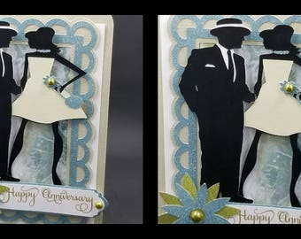 HAPPY ANNIVErSARY Man and Woman Blank Greeting Card