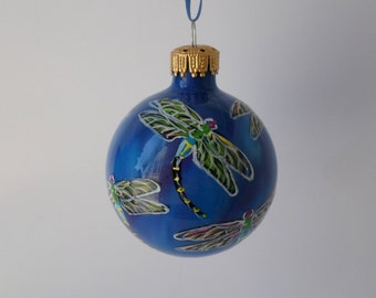 Hand painted dragonfly ornament, royal blue purple 385