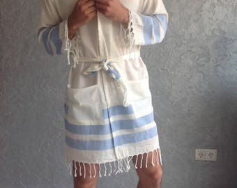 Turkish towel robe,  for men, Ecofriendly, Beach, SPA, Pool, Turkish Cotton, Bathrobe for Him, Bachelor party, birthday, father's day, blue