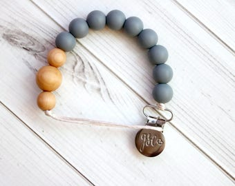 Solid Gray with Wood Beads Silicone Pacifier Clip | Paci Clip | Baby Shower Gift | Pacifier Clip | Soother Clip | Binky Clip | Binkie Clip
