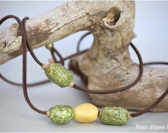 Long collier/sautoir en cuir, ivoire végétal et soie texturée