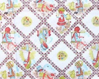 1960's Sweet Girl Children's Fabric in Cotton Quilt Diamond design Novelty 1970s 60s Red Green White Blue Garden Summer