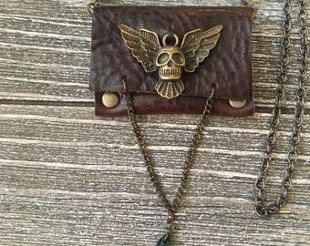 Flying skull Leather Pouch Necklace-Dark Brown and Bronze-Rocker Accessories-Guitar Pick Case Necklace-Rocker Jewelry-Valentine's Gift-