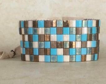 Loomed Cuff Bracelet Tila Beads Turquoise Bronze Beaded Bracelet Ultra Suede Adjustable Boho Jewelry Free Shipping