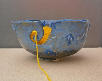 Blue ceramic yarn bowl with butterflies, Knitting bowl, Pottery container for knitters, knitting yarn holder, handmade crochet bowl