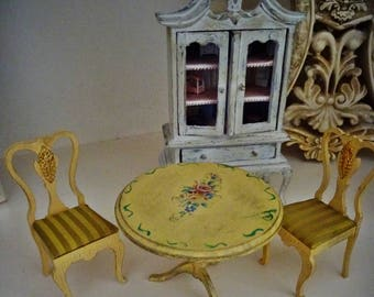 Dolls House Hand Painted Dining Table  Versailles ChicFrench Dining Set   Miniature Dining Table andPainted dining table   Etsy. Hand Painted Dining Table And Chairs. Home Design Ideas