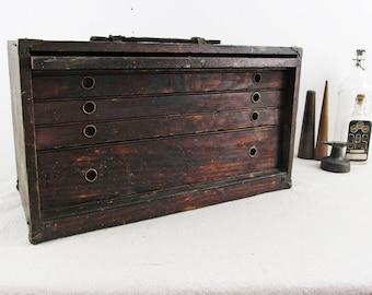 machinist's chest,tool box,desk organizer,tool chest,storage cabinet,desk caddy,vintage drawer,wood drawers,wood cubbies,workbench organizer