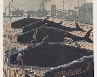 "A. Chekhov ""Whale-Processing Works on the Kuril Isles"" Postcard -- 1962"