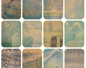 M. Ciurlionis. Complete Set of 16 Vintage Postcards in original cover -- 1976