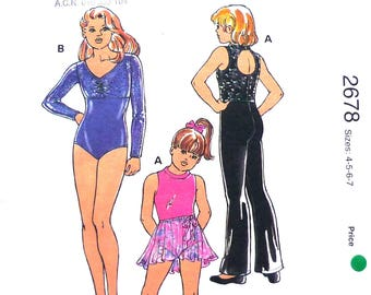 Kwik Sew 2678 sewing pattern, sizes 4-5-6-7 UNCUT, girls' dance and gymnastics gear, leotard with sleeve variations, ballet, pants, skirt