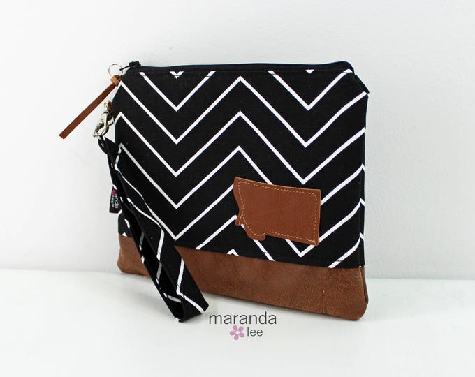 Flat Clutch Large Black Skinny Chevron with MT Patch PU Leather READY to SHIp