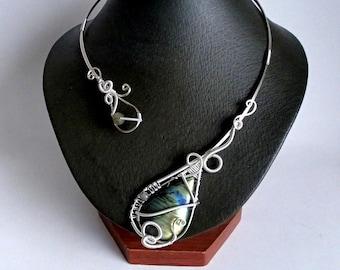 Labradorite Necklace, Silver Necklace, Collar Necklace, Statement Necklace, Unique Necklace, Open necklace