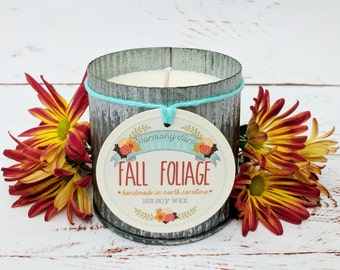 Fall Foliage Soy Wax Candle in 12 oz. Zinc Jar - Fall Candle for Home, Gift, Housewarming, Hostess, Birthday, Present