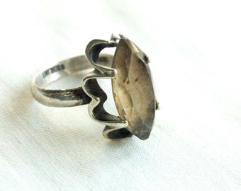 Smoky Quartz Ring Size 7 Vintage Mexican Sterling Silver Marquise Faceted Brown Stone Victorian Style