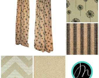 Designer Curtains- Pair of Drapery Panels- Denton Curtains- Custom Beige Drapes- Burlap Curtains- Kitchen Cafe Curtains- Floral Curtains