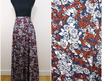Funky Bohemian Navy Blue Daisy Flower VINTAGE 1970s Tie Wrap Maxi Skirt 10-12 Retro / Hippy / Folk