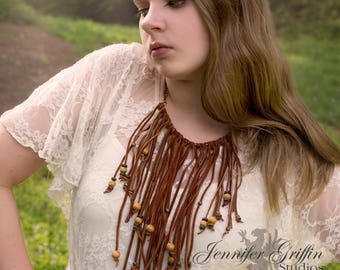 Leather Tribal Necklace- Bohemoian Leather Statement Necklace- Leather Necklace- Woodland Fairy Costume- Burning Man- LARP- Leather Jewelry