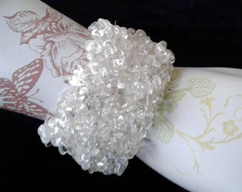 Glass Stretch Bangle Bracelet Retro Wide Clear Cut Glass