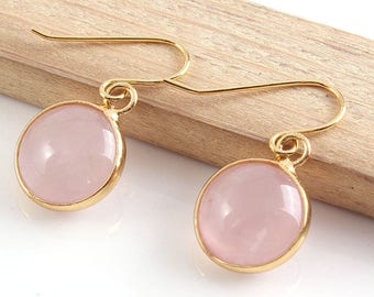 Rose Quartz Gold Drop Earrings, Modern Minimalist Jewellery, Pink Gemstone, Dangle Earrings, simple Earrings