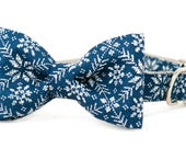 Crew LaLa™ Navy Quilted Snowflakes Bow Tie Dog Collar