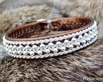 Swedish Viking Sami Bracelet ROSKVA Bronze Lambskin Cuff with Sterling Silver Beads in Spun Pewter Braid and Antler closure