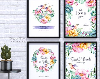 Wedding/Reception Signs (4 Piece Print Collection) - Hummingbird Garden