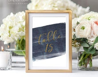 PRE-PRINTED SALE - Reception Table Numbers 1 Through 15 - A Modern Splash (Style 13762)
