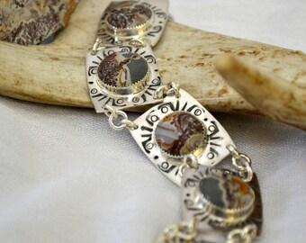 Sonoran dendritic jasper stone bracelet.  Sterling silver multi-link bracelet. size 7.5