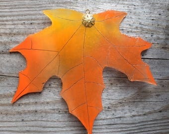 Upcycled Glass Maple Leaf - small