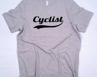 Bicycle T-Shirt-CYCLIST-Cycling T-Shirt,Road bike t-shirt,GREY,bike gift,bicycle gift,MTB,Tour de France,for him,for her