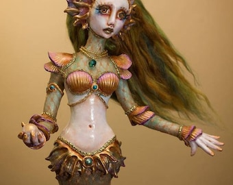 OOAK Handmade Mermaid Green and Gold Art Doll Sculpture by Majestic Thorns
