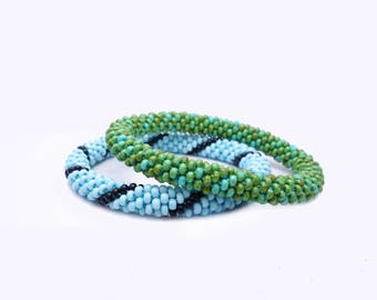 Roll on Bracelets in Natural colors / choose your color and SIZE: small, normal or big / Bead crochet Bangle