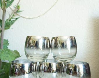 Mid Century Style Silver Ombre Roly Poly Glass Cups - Set of 5