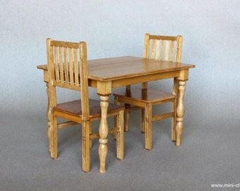 1/6 Scale Table And 2 Chairs Dining Set / Oak Wood Miniature Furniture For