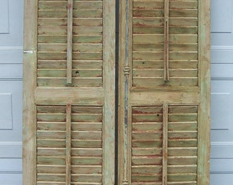 old shutters,vintage wood shutters,old mediterranean wood shutters,chippy green paint,reclaimed salvage window shutter,architectural art