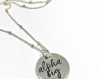 Alpha Sig Jewelry - ASA necklace - Sorority Gifts- The Charmed Wife- Christmas Gifts