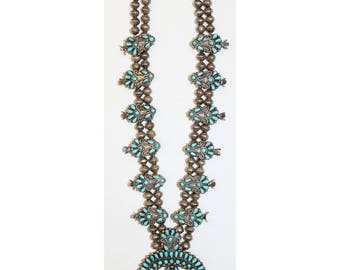 Vintage Native American Zuni Turquoise Squash Blossom