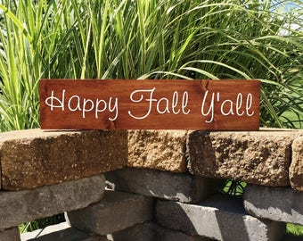 Fall Sign | Wood Sign | Happy Fall Yall | Fall Decor | Farmhouse Sign | Autumn Decor | Painted Sign | Happy Fall | 22205