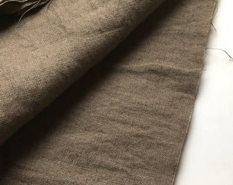 japanese pure linen fabric. medium weight. rudeback half worn out look. 110cm (43in) wide. sold by 50cm (19in) long / half yard. grey mocha