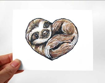 Sloth Art Heart Card, I Love You, Valentines Day, Blank Card, Personalized Message, Anniversary Card, Cute Sloth Lover, Baby Sloth