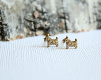 Tiny Scottish Terrier Earring Studs in Raw Brass, Stainless Steel Posts, Dog Owner Pet Lover Jewelry, Scottish Terrier Accessory