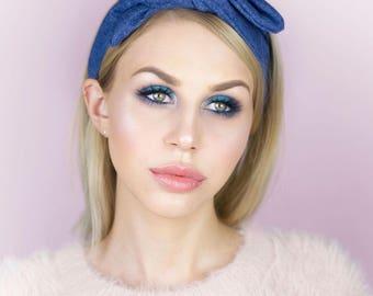 Rockabilly Pin up Blue Denim Wire Headband, 50's style Hair Wrap