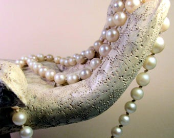 "1920s Graduated, Hand-Knotted, ""Lost"" Pearl Necklace, 20"" Long, 14K White Gold Safety Clasp, Stunning!"
